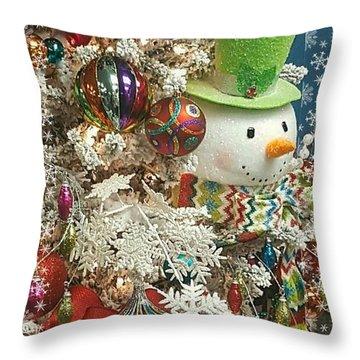 Fun Snowman Holiday Greeting Throw Pillow