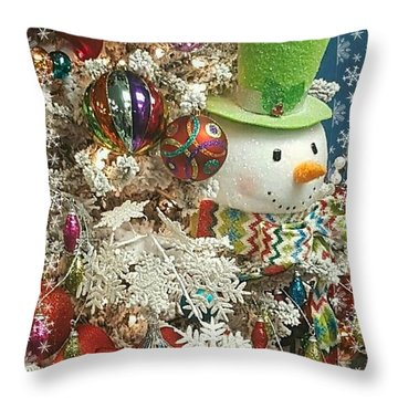 Fun Snowman Holiday Greeting Throw Pillow