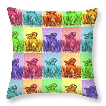 Fun Spring Bunnies Throw Pillow