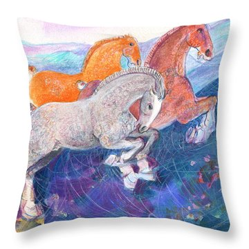 Throw Pillow featuring the painting Fun Time by Mary Armstrong