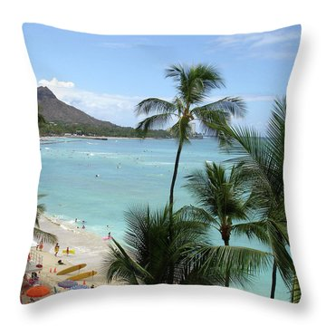 Fun Times On The Beach In Waikiki Throw Pillow