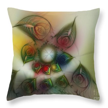 Throw Pillow featuring the digital art Fun With Gardening by Karin Kuhlmann
