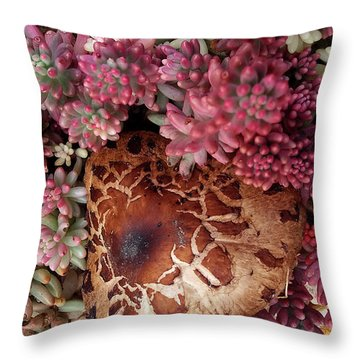 Fungus And Succulents Throw Pillow