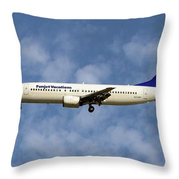 Funjet Vacations Boeing 737-400 Throw Pillow