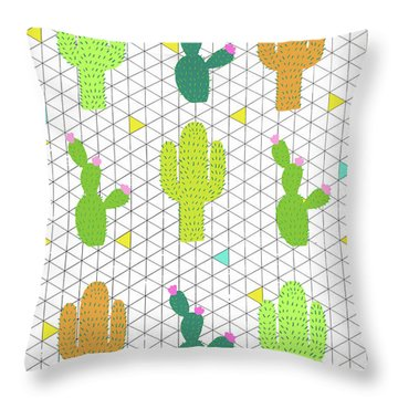 Funky Cactus Throw Pillow by Nicole Wilson