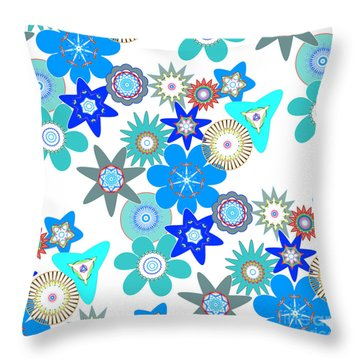 Funky Flower Pattern Throw Pillow by Methune Hively