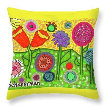Funky Flowers All In A Row Throw Pillow