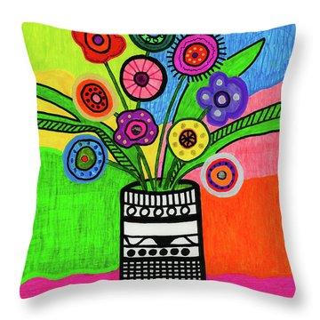 Funky Folk Flowers Throw Pillow