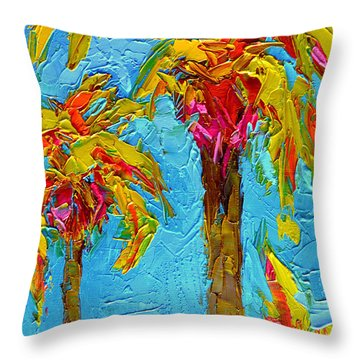 Funky Fun Palm Trees - Modern Impressionist Knife Palette Oil Painting Throw Pillow