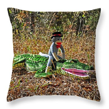 Throw Pillow featuring the photograph Funky Monkey - Reptile Rider by Al Powell Photography USA