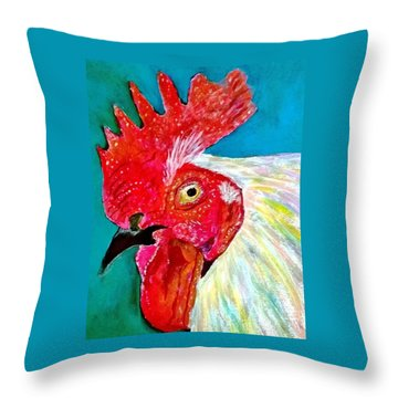 Funky Rooster Throw Pillow
