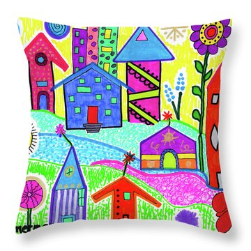 Funky Town 3 Throw Pillow