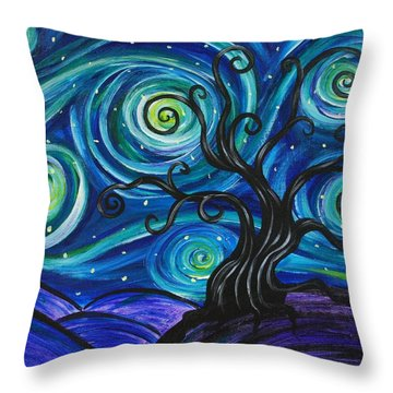 Funky Tree, Starry Night Throw Pillow