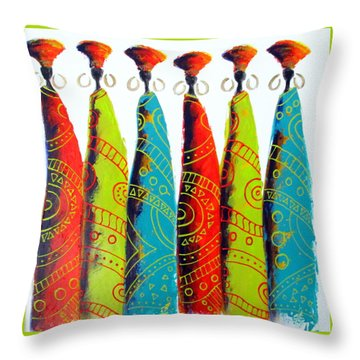 Funky Zulus Throw Pillow