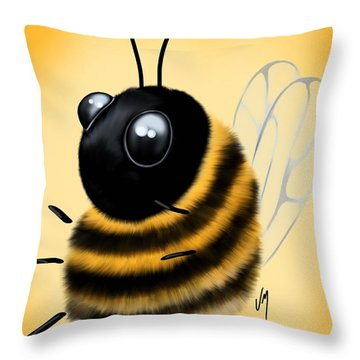 Throw Pillow featuring the painting Funny Bee by Veronica Minozzi