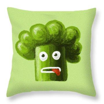 Funny Broccoli Throw Pillow