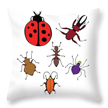 Funny Bugs Throw Pillow