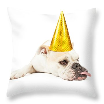 Funny Bulldog Wearing A Yellow Party Hat  Throw Pillow