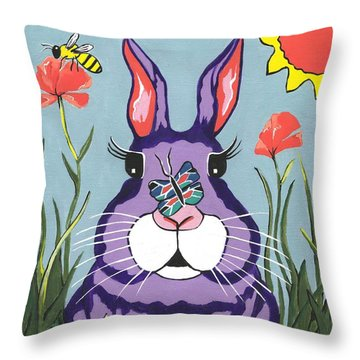 Funny Bunny - Happy Easter Throw Pillow