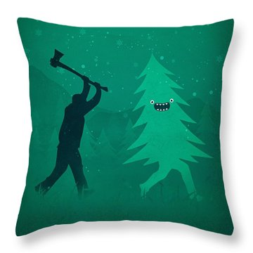 Funny Cartoon Christmas Tree Is Chased By Lumberjack Run Forrest Run Throw Pillow by Philipp Rietz