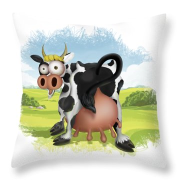 Throw Pillow featuring the drawing Funny Cow by Julia Art