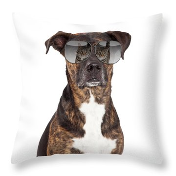 Funny Dog With Cat Reflection In Sunglasses Throw Pillow by Susan Schmitz