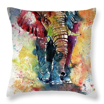 Throw Pillow featuring the painting Funny Elephant by Kovacs Anna Brigitta