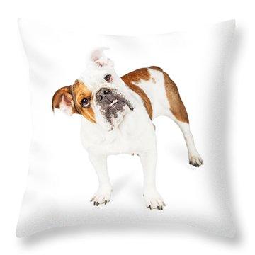 Funny English Bulldog Standing Tilting Head Throw Pillow