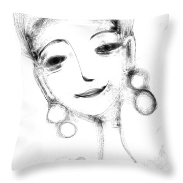 Funny Face Throw Pillow by Elaine Lanoue