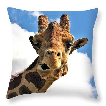 Funny Face Giraffe Throw Pillow
