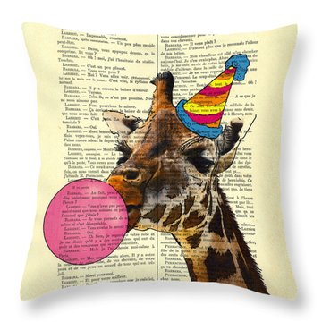 Funny Giraffe, Dictionary Art Throw Pillow