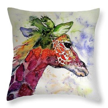 Funny Giraffe Throw Pillow by Kovacs Anna Brigitta