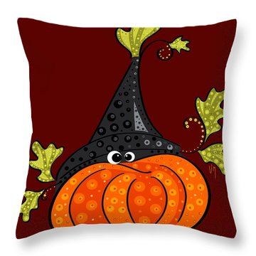 Throw Pillow featuring the painting Funny Halloween by Veronica Minozzi