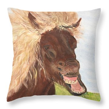 Funny Iceland Horse Throw Pillow