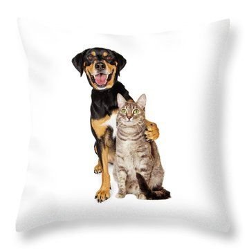 Funny Photo Of Dog With Arm Around Cat Throw Pillow