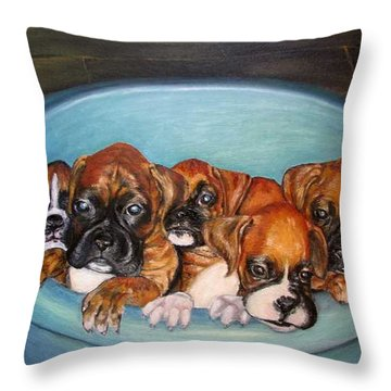 Funny Puppies Orginal Oil Painting Throw Pillow by Natalja Picugina