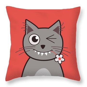 Funny Winking Cartoon Kitty Cat Throw Pillow