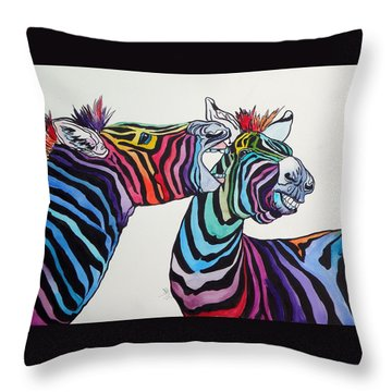 Funny Zebras Throw Pillow