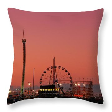 Funtown Pier At Sunset II - Jersey Shore Throw Pillow