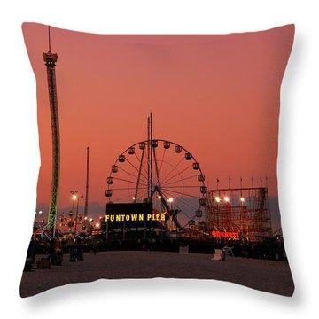 Funtown Pier At Sunset II - Jersey Shore Throw Pillow