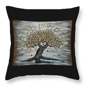 Throw Pillow featuring the drawing Furever Love Tree W/ Paws by Aaron Bombalicki