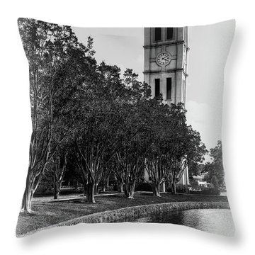 Furman University Bell Tower Greenville South Carolina Black And White Throw Pillow