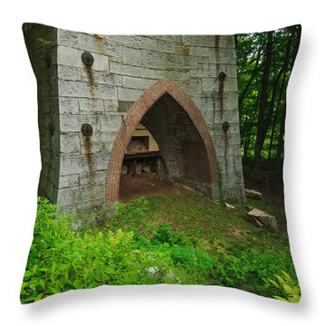 Furnace Of Mine Hill - Historic Iron Blast Furnace Throw Pillow