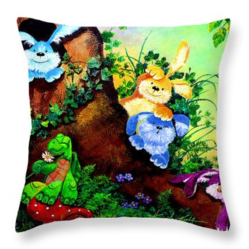 Furry Forest Friends Throw Pillow by Hanne Lore Koehler