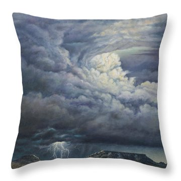 Fury Over Square Butte Throw Pillow