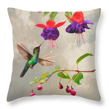 Fuchsia And Hummingbird Throw Pillow
