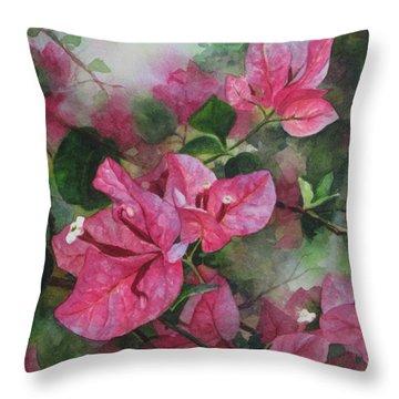 Fuschia Bougainvillea Throw Pillow by Karen  Sioson