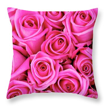 Fuschia Colored Roses Throw Pillow