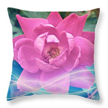 Fuschia Flower Energy Throw Pillow
