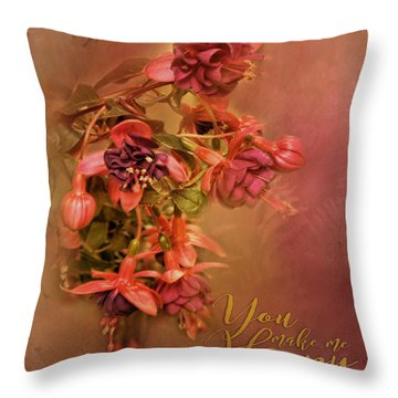 Fushia Bouquet Throw Pillow
